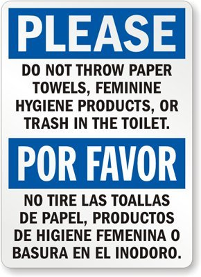 Notice No Trash In Toilet Safety Sticker D318