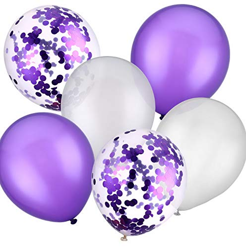 - Mikash 30 Pieces 12 Inches Latex Balloons Confetti Balloons for Wedding Birthday Party Tion (White and Purple) | | Model WDDNG - 376