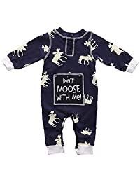 Newborn Baby Girl Boy Romper Deer Pajamas Bodysuit One-piece Outfits