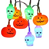 Brizled Skull Pumpkin Halloween Lantern Lights, 32 LED 13.12ft Pumpkin Lights Skull Lights, Battery Jack-O-Lantern Halloween String Lights, Indoor & Outdoor Party and Halloween Decorations, Multicolor