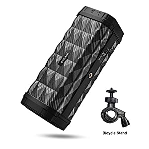 Bluetooth Speaker, Bugani M99 Portable Bluetooth Speaker 5.0, 100ft Wireless Range, 16w Stereo Sound, Amazing Bass, Built-in Mic, with Stand, Speaker for Home, Outdoors and Travel(Black)