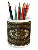 Lunarable Mandala Pencil Pen Holder, Ethnic Asian Flora Meditation Cosmos Universe Themed Circles Artwork, Printed Ceramic Pencil Pen Holder for Desk Office Accessory, Earth Yellow Black Yellow