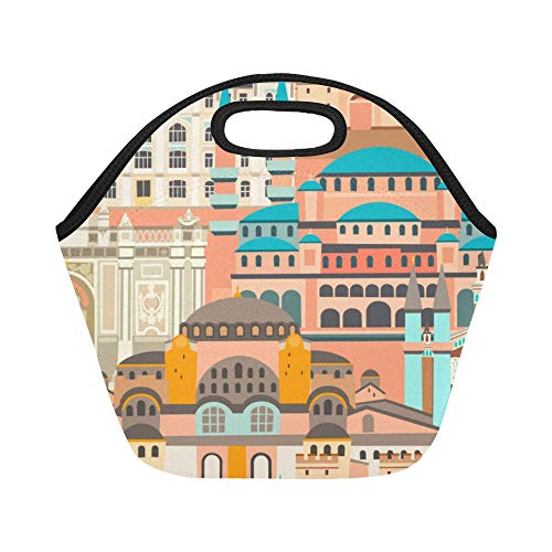 Insulated Neoprene Lunch Bag Beautiful Fashion European Architecture Large Size Reusable Thermal Thick Lunch Tote Bags Lunch Boxes For Outdoor Work Office School