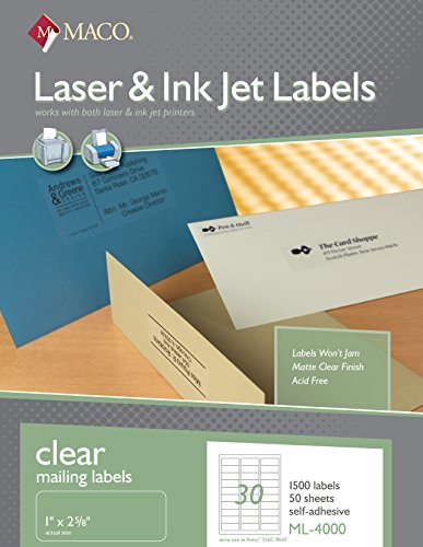- MACO Laser/Ink Jet Matte Clear Address Labels, 1 x 2-5/8 Inches, 30 Per Sheet, 1500 Per Box (ML-4000)