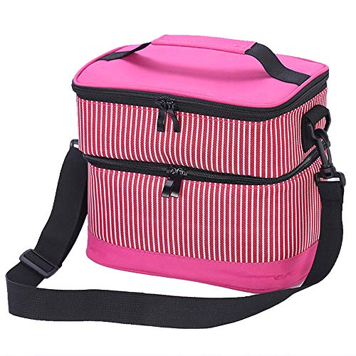lated Dual Compartment Lunch Bag for Adults/Men/Women, Double Deck Reusable Lunch Tote with Shoulder Strap,Medium Lunch Box for Work/Office (PINK) ()