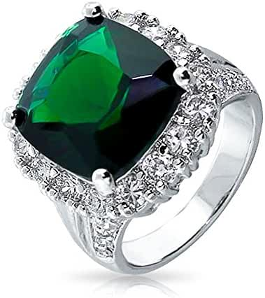 Bling Jewelry Simulated Emerald CZ Cocktail Ring Rhodium Plated