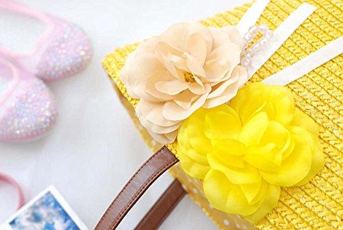 Tejido Bolso De De Paja Paja yellow Playa De De Hombro Bolso De Mano Mano De Viaje De JXS Pink t6Cqwdw