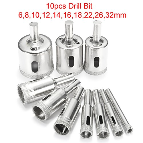 BABAN Diamond Drill Bits, Hole Saw Kits for Glass, Ceramics, Porcelain, Ceramic Tile, Pack of 10 - 1 3 4 Porcelain Tile Hole Saw