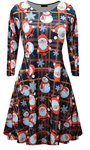 Donne 18 Natale Jaycargogo Di Maniche Modo Stampa Da Lunghe Di Vestito Delle A qwwxa8fB7