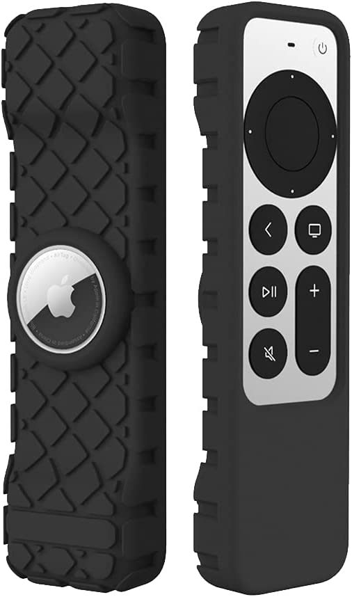 LYWHL for Apple TV 4K 2021 Remote Silicone Cover Case with AirTag Sleeve, Anti-Slip Anti-Scratch Shockproof Full Body Protective Cover for Apple TV 4K Siri Remote Control 2021 - Black