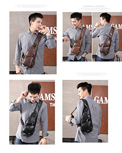 Oyige outdoor With Chest Brown Men's Dark Usb For Charging Bags Sports Bag Shoulder body Cross riding F7I70xrqw