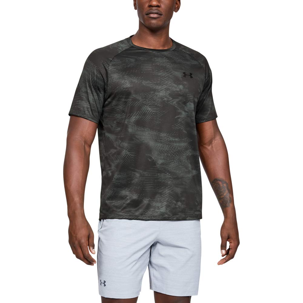 Under Armour Tech Printed Short-sleeve Shirt, Pitch Gray (015)/Mod Gray, Large by Under Armour