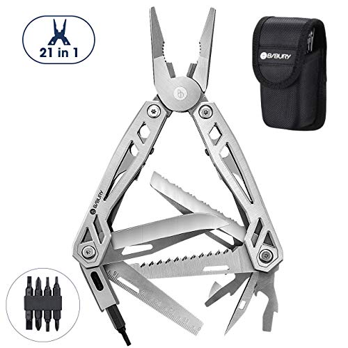 Multitool Pliers, 21-in-1 Multi-Purpose Pocket Knife Pliers Kit, 420 Durable Stainless Steel Multi-Plier Multi-tool for Survival, Camping, Hunting, Fishing and Hiking (Silver)