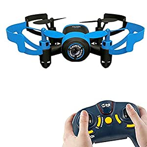 AICase Mini RC Quadcopter Drone, 2.4Ghz 6-Axis Gyro 4 Channels JXD 512V Helicopter Headless Mode UFO With 0.3MP Camera, Blue Bee (Blue/Without WIFI)