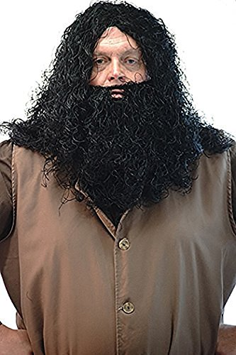 Fancy Dress-World Book Day-Halloween-Magic-Wizard School Men's HAGRID GIANT WIG & BEARD Fancy Dress Set - One Size (Book Costumes For Adults)