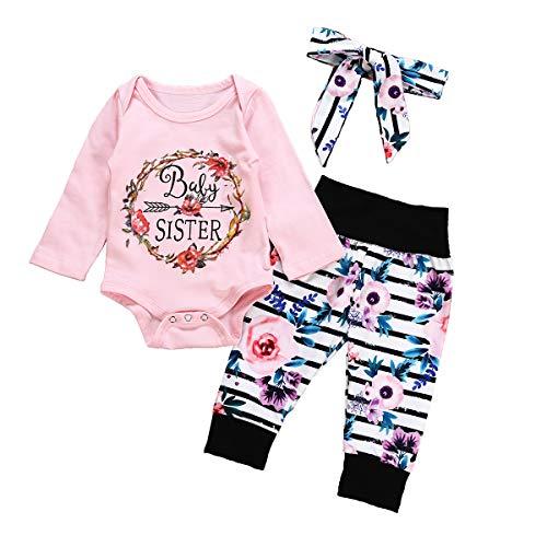 Infant Toddler Girsl Outfit Set Baby Sister Long Sleeve Bodysuit Top + Floral Leggings Pant + Headbands Newborn Pajamas 0-3 M