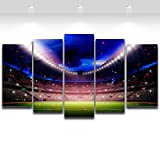 5 Panel Football Playground Painting for Living Room Soccer Fan Home Decor Wall Art Canvas Prints Unframed