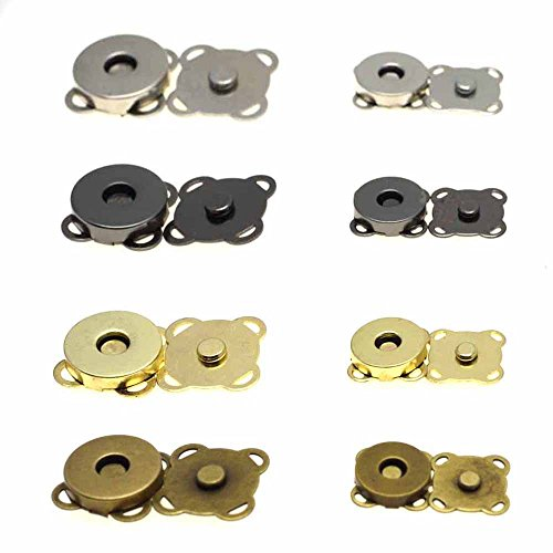 10pcs Metal Magnetic Snap Fasteners Clasps Buttons Handbag Purse Wallet Craft Bags Parts Accessories (15mm, Antique Brass) ()