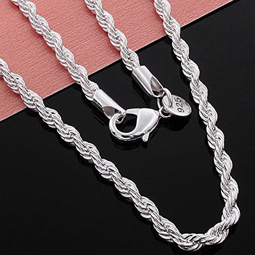 Saengthong 925 Sterling Silver Rope Chain Twist Necklace Wedding Engagement Jewelry 2MM 24