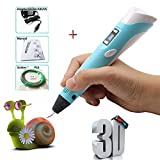 3D Printing Pen,Perfectink 3D Doodler Drawing Pen, LCD Display 3D Stereoscopic Printer Pen with 1.75mm 3 x 3M Low Temperature ABS Filaments (Blue)