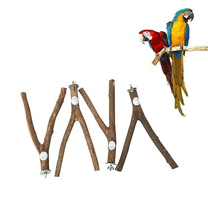 Umiwe Jaula de Madera para pájaros, Soporte para Jaula, Juguete con Campanas para Loro, Periquito, cacatúa, Cono, amaneces, Perca, cacatúa, Color Gris ...