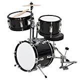 Best Choice Products 3-Piece Kids Beginner Drum Set w/Sticks, Chair, and Drum Pedal - Black