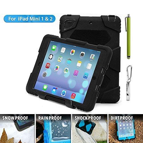Ipad mini case, ACEGUARDER ipad mini 2 case, ipad mini 3 case for kids Rainproof Shock-proof [Military-Duty] Case with Back strip for Apple ipad mini2/3 case (Black)