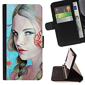 DEVIL CASE - FOR Samsung Galaxy S4 Mini i9190 - Blonde Woman Sexy Red Lips Blue Eyes - Style PU Leather Case Wallet Flip Stand Flap Closure Cover