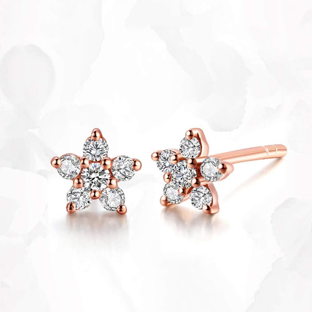 Gems.RDX Diamante Pentagrama Racimo de Flores Pendientes Exquisito Oro de 18 Quilates Diamante Arete para Novia San Valentín Regalo con Certificado y Caja de Regalo
