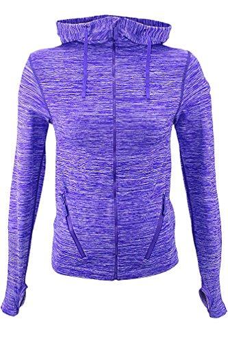 Purple Gray Zip-Up Marled Athletic Jacket Yoga Hoodie Size Medium/Large