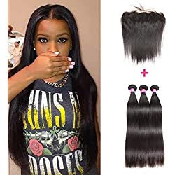 ISEE Hair 8A Peruvian Remy Virgin Hair Silky Straight Human Hair with 134 Frontal Peruvian Straight Hair Lace Frontal Closure with Bundles (161820+14Frontal, Natural Color)