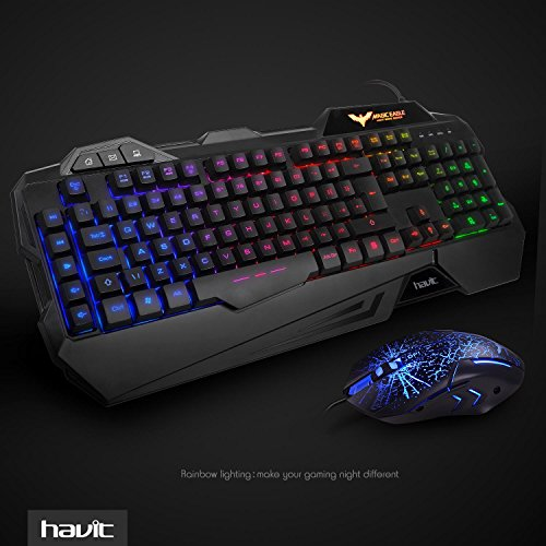 gaming keyboard uk layout havit rainbow led backlit wired keyboard and mouse combo set black. Black Bedroom Furniture Sets. Home Design Ideas