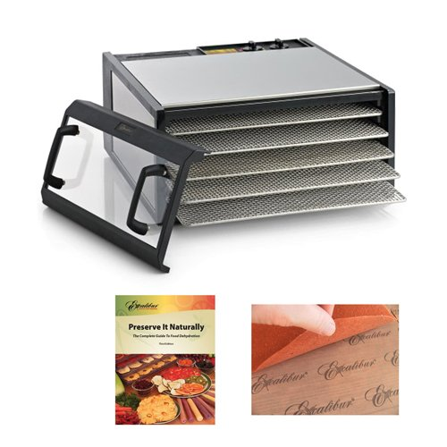 Excalibur Dehydrator Stainless Dagger Clear Door 5-Tray/SS-Trays + Excalibur Dehydrators Preserve It Naturally Book + Accessory Kit