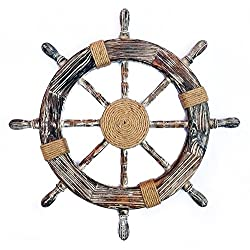 Nagina International Nautical Decorative Premium Pine Wood Ship Wheel with Rope Center Motif - Captain Maritime Beach Home Decor Gift (36 Inches)