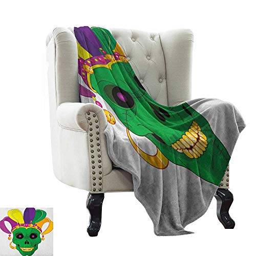 Mardi Gras, Super Soft Lightweight Blanket, Scary Looking Green Skull Mask with Carnival Hat Beads and Earring Cartoon Style, Microfiber for Bedding or Sofa, (W70 x L90 Inch Multicolor