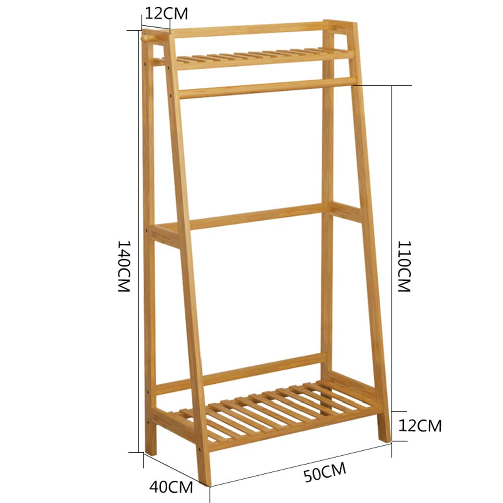 JIANFEI Floor Standing Coat Rack Hat Stand Hanger Multifunction Storage,Bamboo 2 Colours Three Sizes (Color : Wood Color, Size : 50x40x110cm)
