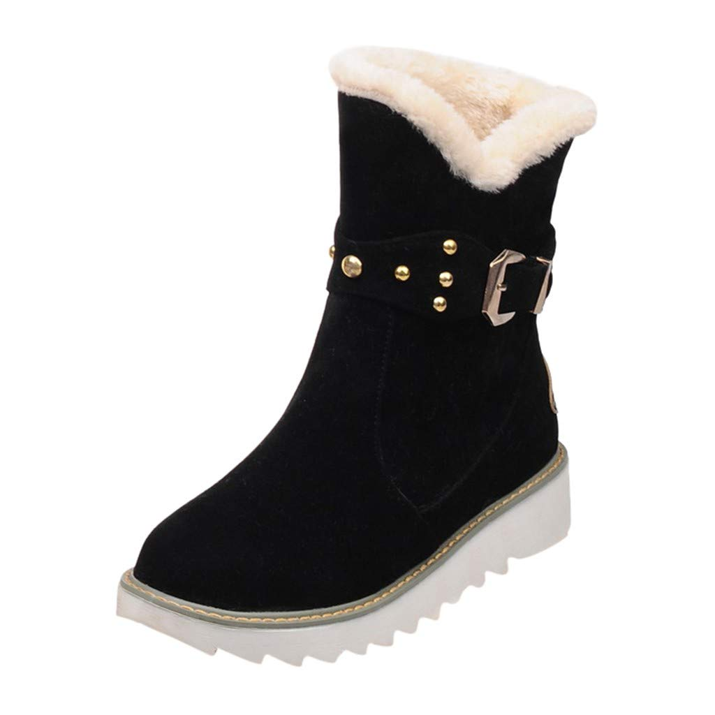 Midress Warm Snow Boots for Women,Winter Round Toe Buckle Slip-On Ankle Booties Casual Anti-Slip Soft Booties Flat Heel Boots by Midress
