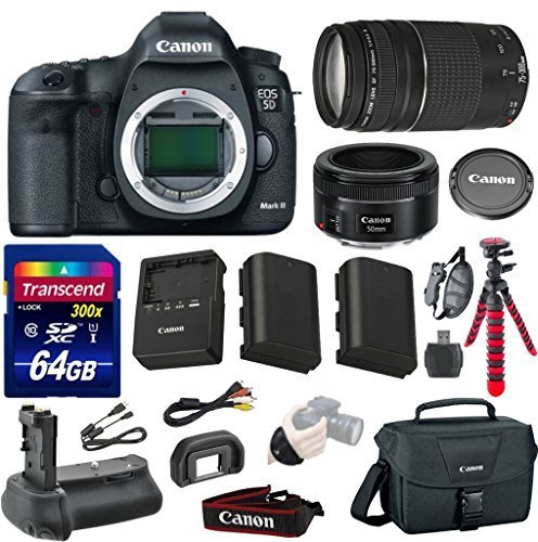 Canon EOS 5D Mark III 22.3 MP Full Frame CMOS Digital SLR Camera with Canon EF 50mm f/1.8 STM Lens + Canon EF 75-300mm f/4-5.6 III Zoom Lens + Transcend 64GB Memory Card + Canon Deluxe Case