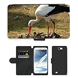 Super Stella Cell Phone Card Slot PU Leather Wallet Case // M00148776 Stork Feather Bird Animals Germany // Samsung Galaxy Note 2 II N7100