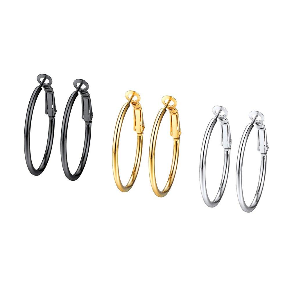 3 Pairs Big Hoop Earring Women Jewelry Sets Black Gun/18K Gold Plated Men 316l Stainless Steel Hoops Earring 3PSE3030 PROSTEEL Jewelry 3PSE3030JGH