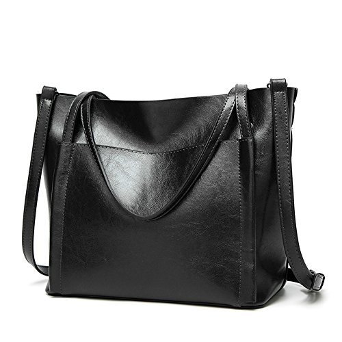 Obosoyo Women Shoulder Tote Satchel Bag Lady Messenger Purse Top Handle Hobo Handbags Black Ladies Black Satchel Purse