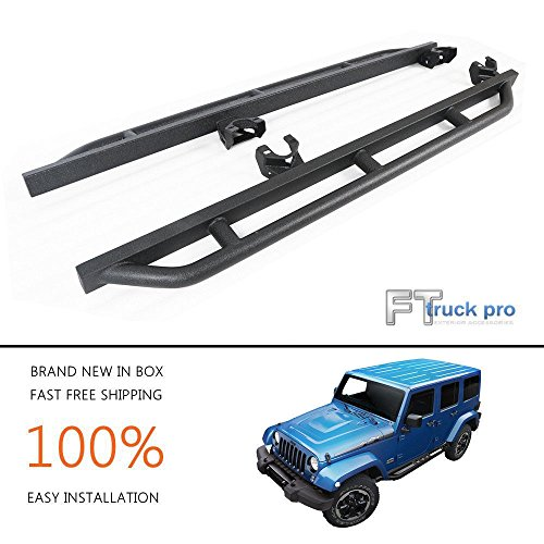 UDIT 07-18 Jeep Wrangler JK 4 Door Body Side Armor Rocker Guard Rock Slider Black Textured Pair