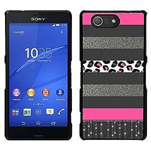EJOY---Cubierta de la caja de protección para la piel dura ** Sony Xperia Z3 Compact ** --Plata Patrón Líneas rosadas