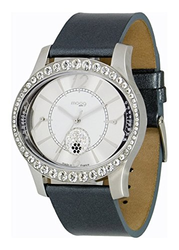Moog Paris - Anti Gravity - Women's Watch with silver dial, dark grey strap in Genuine calf leather, made in France - M44862-003