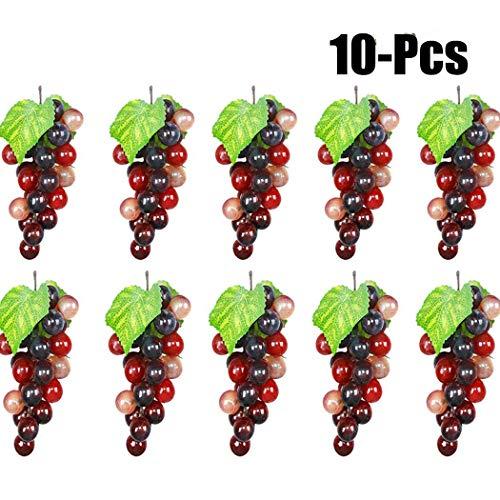 (Outgeek Artificial Grapes, 10 Pack Artificial Grapes Mini Grape Clusters Rubber Fake Grape Bundles Decorative Grapes Hanging Ornaments for Vintage Wedding Favor Fruit Wine Decor Faux Fruit)