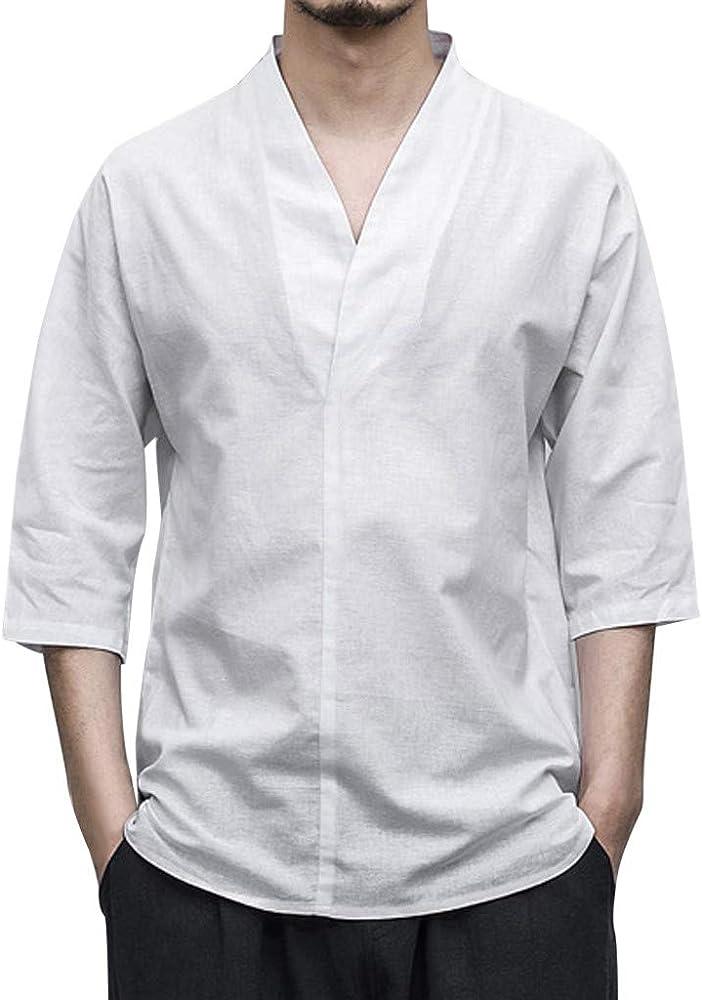 Sayla Camiseta para Hombre Manga Corta Verano Polo Camisas Casual Fitness Tirantes Deporte Slim Lino SóLido Patchwork Tres Cuartos Suelto Escote En V Blusa Camiseta: Amazon.es: Ropa y accesorios