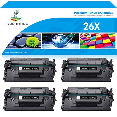 True Image Compatible Toner Cartridge Replacement for HP 26X CF226X HP 26A CF226A M402n Toner for HP Laserjet Pro M402n MFP M426fdw M402dn M426fdn M426dw M402 Printer Ink 26A Toner High Yield -4Packs ()