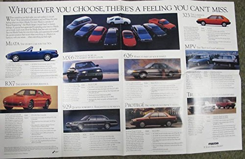 Amazon.com: 1990 Mazda Miata RX7 GTU GXL Protege Turbo Pickup Truck Brochure: Entertainment Collectibles