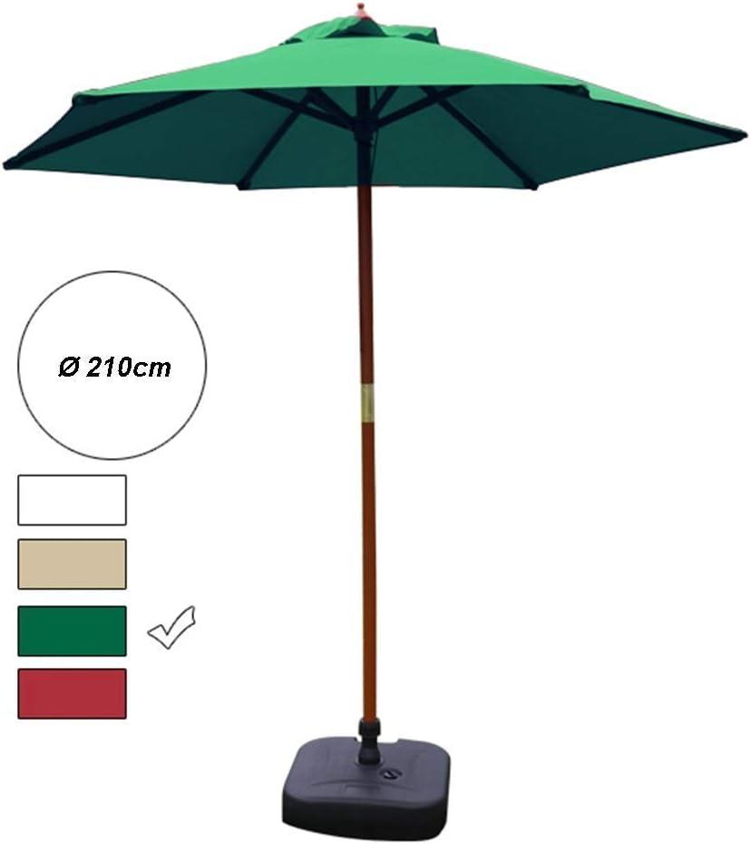 ZDW Sombrillas Sombrilla de jardín de 7 ', sombrilla redonda de mesa de mercado con soporte de madera maciza, ideal para patio al aire libre, playa, camping, parasol junto a la piscina Sombrilla port