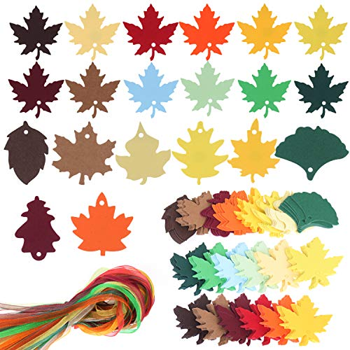 SOTOGO 300 Pcs Leaves Gift Tags Maple Leaf with Holes Maple Leaf Hang Tags and Strings Favor Tags Gift Tags with Ribbons for Wedding Thanksgiving Day&Christmas Party Wishing Tree(9 Styles,12 Colors) ()